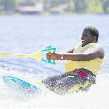 man enjoys water activities